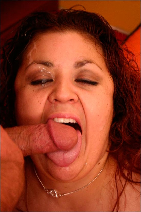 Big fat and horny Reyna indulges her huge appetite for sucking cocks and then fucking them before she gets a messy cum facial over here
