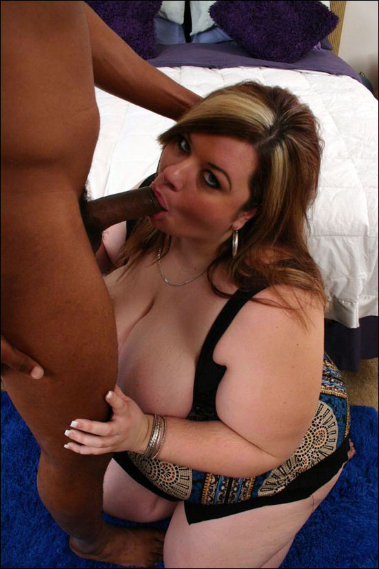 Gorgeous plumper Deserie shows off her excellent cock pleasing skills to satisfy a black guy and then she sucks him hard to get him off